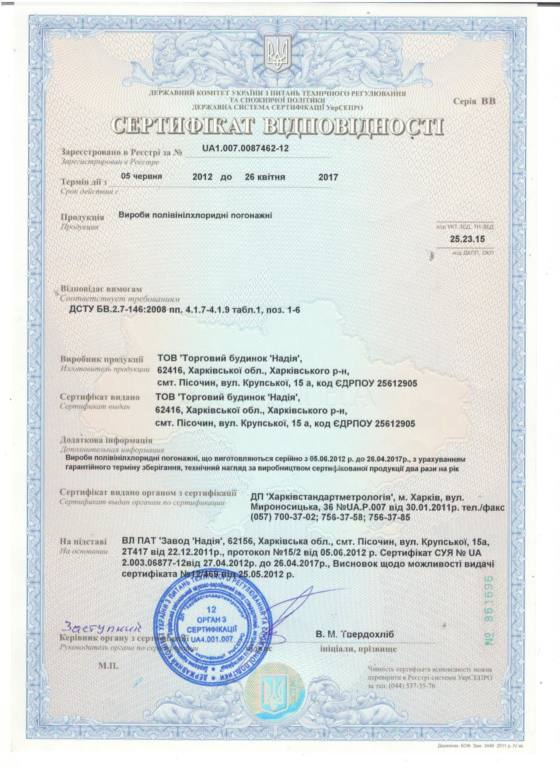 Новый сертификат погонажный проф2012
