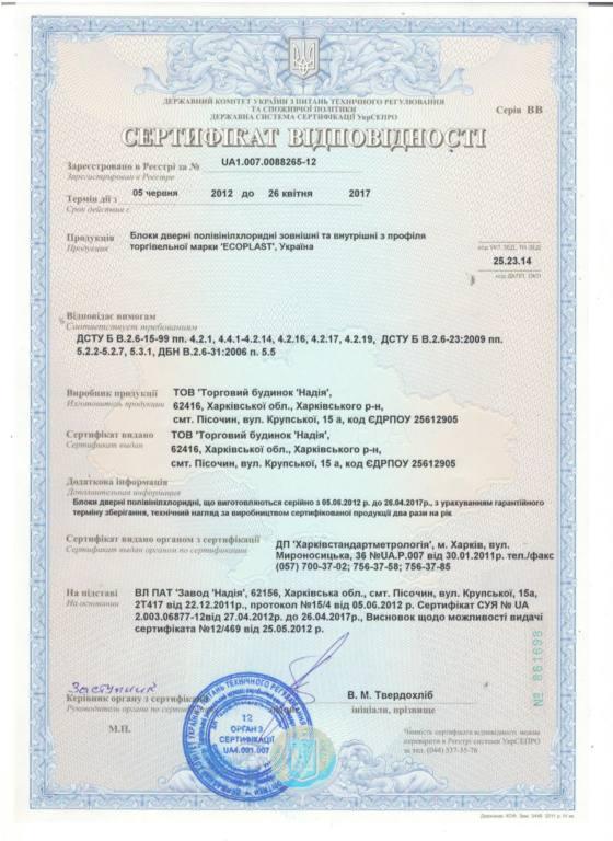 Сертификат двери